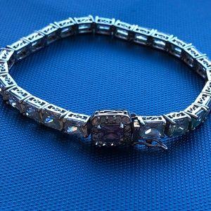 sterling  channel set pink clear Crystal bracelet